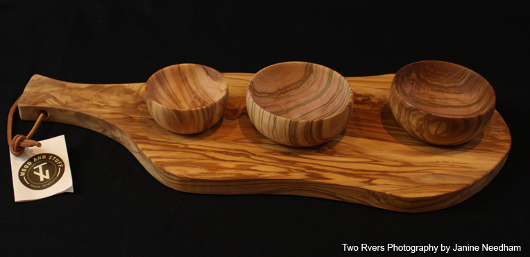 Olive Wood Board with 3 bowls